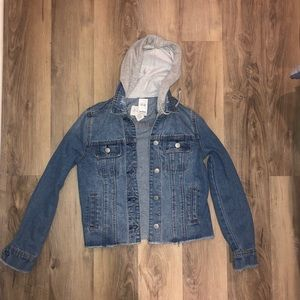 Brand new Tillys hooded jean jacket